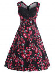 Plus Size Floral Printed Midi 1950s Style Dress