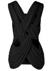 Criss Cross Scoop Neck Tank Top - Noir M