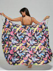 Feather Print Convertible Wrap Sarong Cover-Up Dress - COLORMIX M