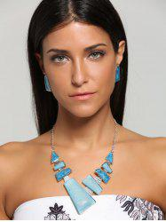 Geometric Faux Gemstone Statement Necklace Set