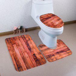 3Pcs Wood Grain Pattern Antislip Bathroom Mat Set - BROWN