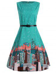 City Graphic Plus Size Vintage Flare Dress with Belt