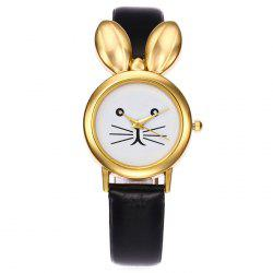 Faux Leather Strap Rabbit Ears Quartz Watch - Noir