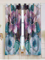 2Pcs Floral Bedroom Window Blackout Curtain - COLORMIX W53 INCH * L63 INCH