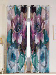 2Pcs Floral Bedroom Window Blackout Curtain -