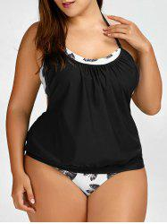 Plus Size Halter Tropical Tankini Swimsuit