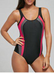 U Neck Color Block Backless Swimsuit