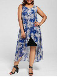 Plus Size Palm Leaf Sleeveless Overlay Dress