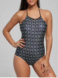 One Piece Geometric Print Halter Swimsuit