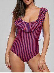 Flounce One Piece Striped Swimsuit