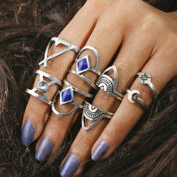 Faux Gem Moon Engraved Geometric Ring Set