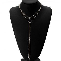 Alloy Fringed Bead Chain Necklace