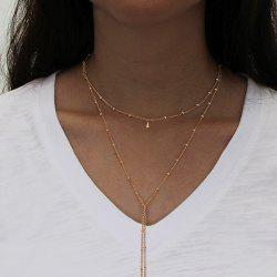 Alloy Fringed Bead Chain Necklace -