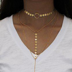 Disc Sequins Circle Layered Necklace - GOLDEN