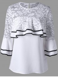 Bell Sleeve Ruffle Lace Insert Blouse