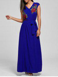 V Neck Belted Embroidered Maxi Dress