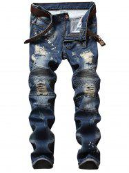 Distressed Zip Design Denim Pants - DENIM BLUE