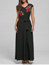 V Neck Belted Embroidered Long Maxi Dress