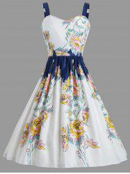 Vintage Spaghetic Strap Floral Party Dress