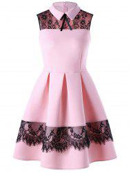 Lace Trim Sleeveless Skater Dress - PINK