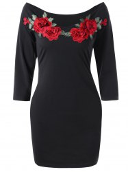 Floral Embroidery Slim Tee Dress - BLACK