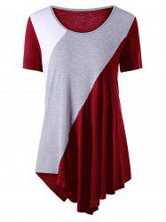 Asymmetrical Color Block Tunic Top