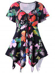 Plus Size Butterfly Pattern Handky Top -
