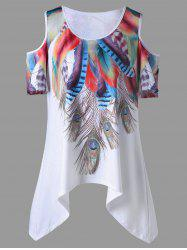 Plus Size Feather Asymmetrical Cold Shoulder Top - WHITE XL