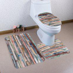 Non Slip 3Pcs Wood Grain Bathroom Mats Set - COLORMIX