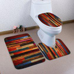 Coral Fleece Colorful Woodgrain 3Pcs Bath Mats Set