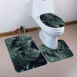 Fern Plants 3Pcs Coral Fleece Bathroom Mats Set