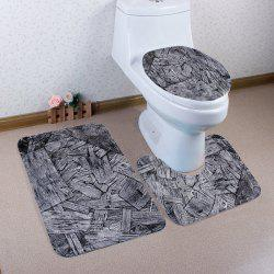 3 Pieces Non Slip Wood Shavings Toilet Mats Set -