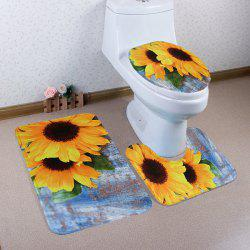 Soft Coral Fleece 3Pcs Sunflower Bath Mats Set - COLORMIX