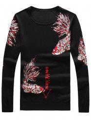 Long Sleeve Fish and Graphic Print Sweater