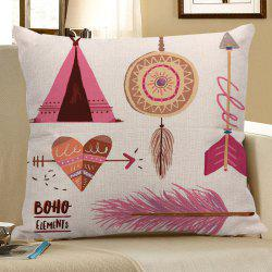 Bohemian Heart Arrow Feather Dreamcatcher Print Pillow Case - COLORFUL
