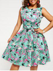 Vintage Animal Print Plus Size Pin Up Dress - Green - 3xl