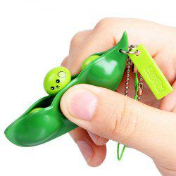 1 PC Squeeze Beans Stress Relief Toy with Keychain - GREEN