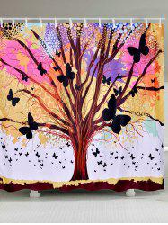 Tree of Life Butterfly Waterproof Fabric Shower Curtain - COLORFUL W65 INCH * L71 INCH