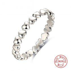 Sterling Silver Heart Circle Finger Ring - SILVER
