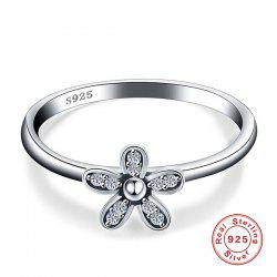 Sterling Silver Rhinestone Flower Finger Ring