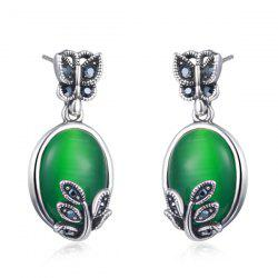 Faux Emerald Butterfly Leaf Oval Earrings