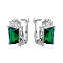Rhinestone Faux Emerald Geometric Earrings