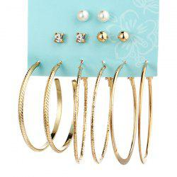 Faux Pearl Rhinestone Circle Earring Set