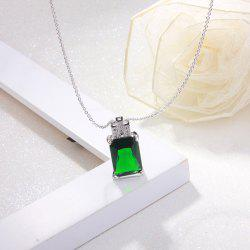 Rhinestone Faux Emerald Geometric Pendant Necklace