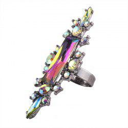 Statement Faux Crystal Geometric Finger Ring - COLORMIX