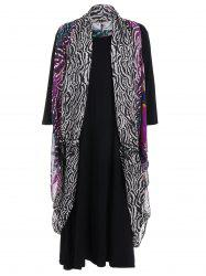 Printed Top and Knee Length Plus Size Dress