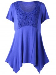Floral Crochet Asymmetrical Plus Size Top -
