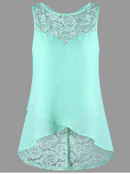 Lace Panel Sleeveless High Low Blouse