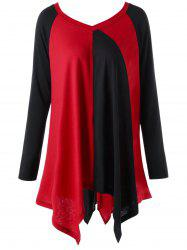 Plus Size Color Block Handkerchief Top