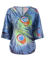 Plus Size Peacock Tail Print Top